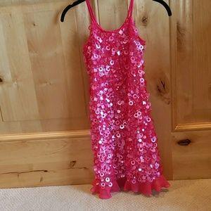 Girls Pink Sequin/Bead/Pailletes Sleeveless Dress